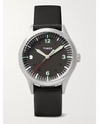 Timex Waterbury 38mm Stainless Steel And Leather Watch - Black