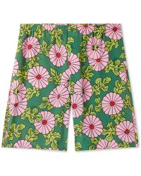Gucci Ken Scott Wide-leg Floral-print Silk-crepe Shorts - Green