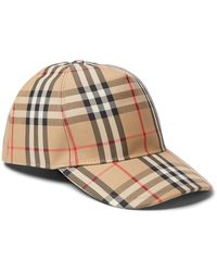 Burberry Leather-trimmed Checked Cotton-blend Canvas Baseball Cap - Brown