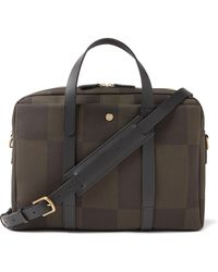 Mismo Endeavor Leather-trimmed Checked Canvas-jacquard Briefcase - Green