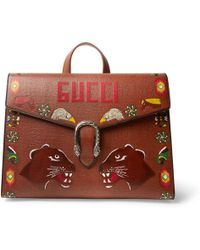 Gucci - Dionysus Hand-painted Textured-leather Briefcase - Lyst