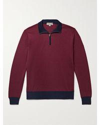 Canali Colour-block Wool Half-zip Jumper - Red