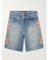 Kapital Wide-leg Embellished Denim Shorts - Blue