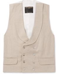 Favourbrook Stone Evering Double-breasted Linen Waistcoat - Natural