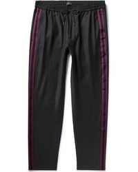 Club Monaco - Black Tapered Webbing-trimmed Wool-blend Drawstring Trousers - Lyst