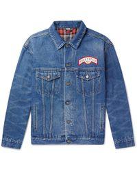 Gucci - Flocked Logo Denim Jacket - Lyst