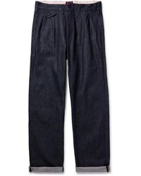 The Workers Club Pleated Selvedge Denim Jeans - Blue