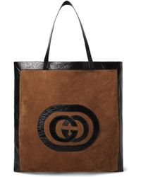 Gucci - Patent Leather-trimmed Suede Tote Bag - Lyst