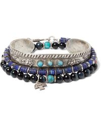 Peyote Bird Set Of Three Sterling Silver, Turquoise, Tiger's Eye And Lapis Heishi Bracelets - Blue