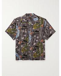 Kapital Convertible-collar Printed Voile Shirt - Black