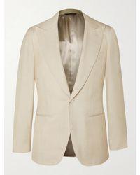 Saman Amel Slim-fit Slub Silk Tuxedo Jacket - Natural
