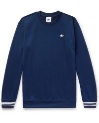 adidas Originals - Striped Satin-piqué Sweatshirt - Lyst
