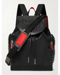 Christian Louboutin Explorafunk Spiked Rubber-trimmed Full-grain Leather Backpack - Black