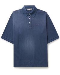 Acne Studios Oversized Logo-embroidered Cotton-piqué Polo Shirt - Blue