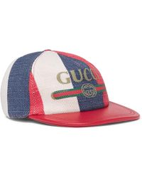 bf75635d244 Gucci Logo-print Linen And Cotton-blend Canvas Baseball Cap in ...