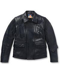 Blackmeans Slim-fit Leather Biker Jacket - Blue