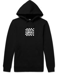 Stussy - Printed Cotton-blend Jersey Hoodie - Lyst