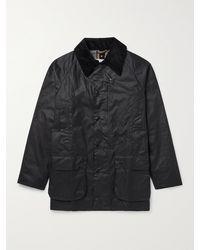 Barbour White Label Beaufort Corduroy-trimmed Waxed-cotton Jacket - Blue