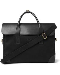 Bennett Winch Cotton-canvas And Full-grain Leather Briefcase - Black