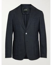 BOSS by HUGO BOSS C-hanry-214 Slim-fit Unstructured Stretch Virgin Wool And Silk-blend Suit Jacket - Blue