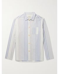 Oliver Spencer Westcliffe Striped Organic Cotton-twill Pyjama Shirt - Blue