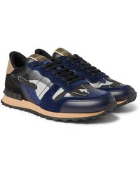Valentino Valentino Garavani Rockrunner Metallic Camouflage-print Canvas, Leather And Suede Trainers - Blue