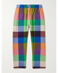 The Elder Statesman Wonderland Traveller Checked Cashmere Trousers - Multicolour
