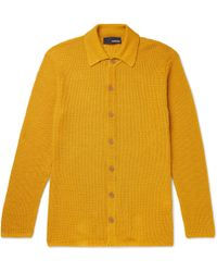 Lardini Waffle-knit Linen Cardigan - Yellow