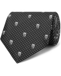 Alexander McQueen - 8cm Skull And Polka-dot Jacquard Silk-twill Tie - Lyst