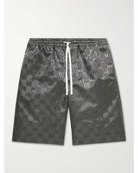 Gucci Logo-jacquard Shell Drawstring Shorts - Grey