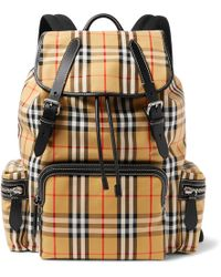 Burberry - Leather-trimmed Checked Canvas Backpack - Lyst