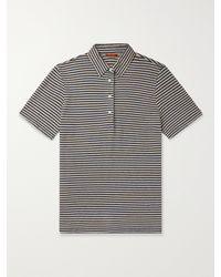 Barena Striped Linen Polo Shirt - Blue