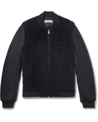 Balenciaga - Shearling-panelled Wool-blend Bomber Jacket - Lyst