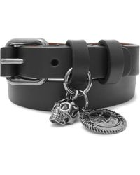 Alexander McQueen - Leather And Gunmetal-tone Wrap Bracelet - Lyst