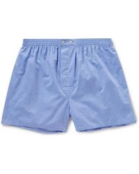 Derek Rose Amalfi Cotton Boxer Shorts - Blue