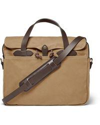 Filson Original Leather-trimmed Twill Briefcase - Brown