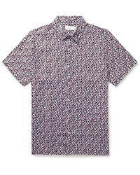 Onia Samuel Floral-print Linen-chambray Shirt - Blue