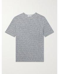 MR P. Mélange Cotton And Linen-blend T-shirt - Blue