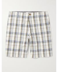 MR P. Checked Cotton And Linen-blend Golf Shorts - Blue