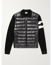 Moncler Logo-appliquéd Striped Wool And Quilted Shell Down Zip-up Cardigan - Black