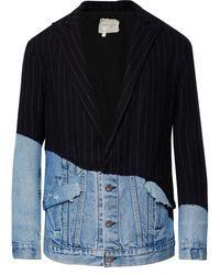 Greg Lauren Distressed Denim-panelled Pinstriped Wool-blend Blazer - Blue