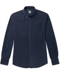 Brunello Cucinelli - Button-down Collar Garment-dyed Cotton-corduroy Shirt - Lyst