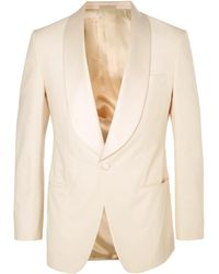 Kingsman - Harry's Cream Satin-trimmed Stretch-cotton Tuxedo Jacket - Lyst