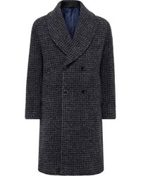 Mp Massimo Piombo Robbie Shawl-collar Double-breasted Checked Alpaca-blend Coat - Grey