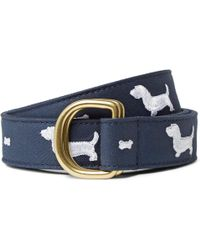 Thom Browne - 3cm Embroidered Leather-trimmed Cotton-twill Belt - Lyst