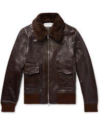 Officine Generale John Shearling-trimmed Full-grain Leather Bomber Jacket - Brown