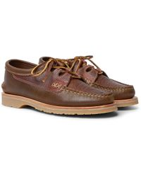 Yuketen - Ghillie Textured-leather Boat Shoes - Lyst