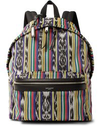 Saint Laurent - City Leather-trimmed Cotton-canvas Backpack - Lyst