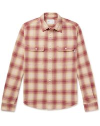 Adsum Seasonal Shadow Checked Cotton-flannel Shirt - Pink