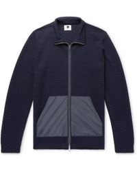 NN07 Clint Slim-fit Ripstop-trimmed Ribbed Merino Wool-blend Zip-up Cardigan
